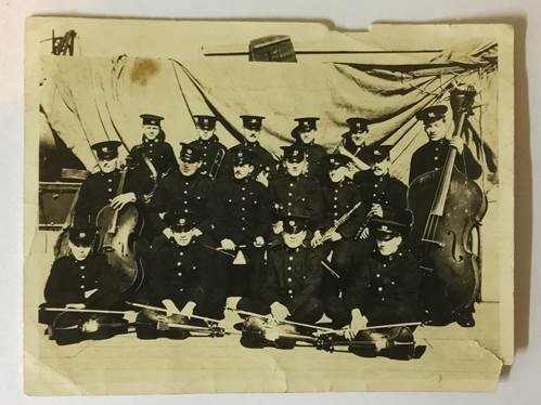 Bandsman Palfreman second from left back row