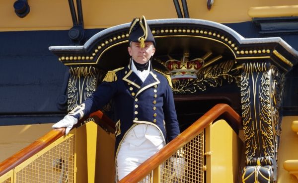 Captain Hardy Welcomes Visitors to the Historic Dockyard