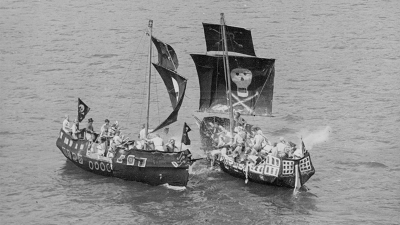 A photo of pirate ships at a regatta in the 1930s